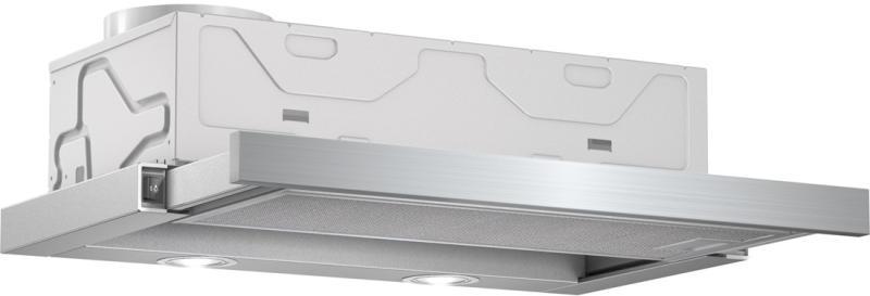A képen a Bosch DFM064W50 típusú készülék látható félig kihúzott állapotban, elforgatva. 60 cm széles, inox előlappal.