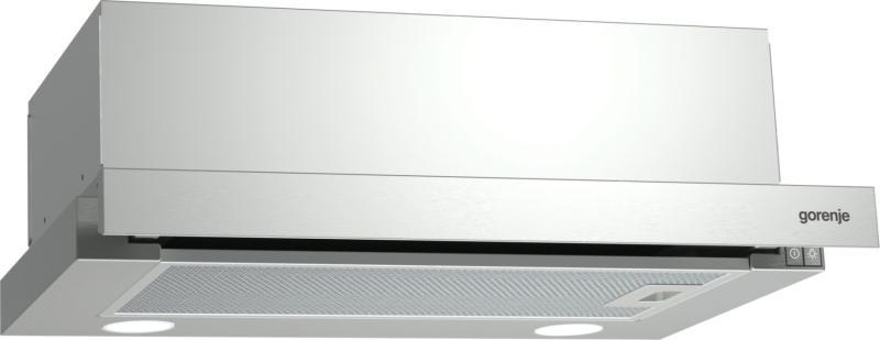 A képen a Gorenje BHP623E10X kihúzható páraelszívó látható. 50 cm széles, inox előlap.